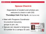 spouse check in