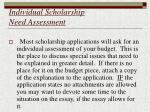 individual scholarship need assessment