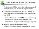 psa screening across the va system