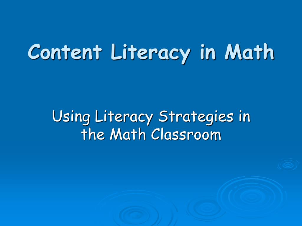 content literacy in math l.