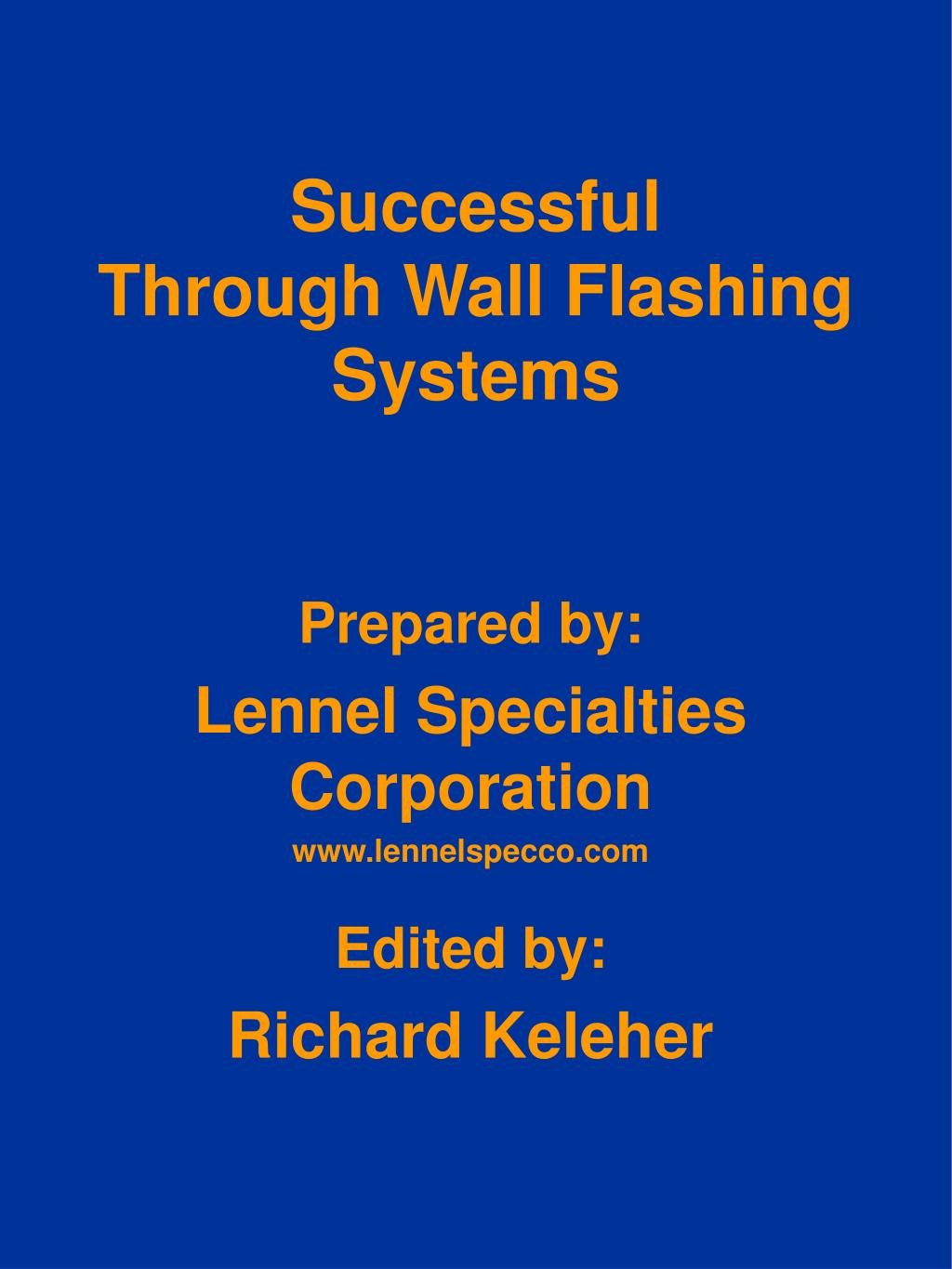 successful through wall flashing systems l.