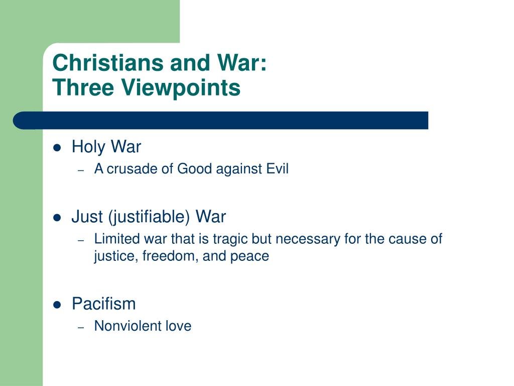 christians and war three viewpoints l.
