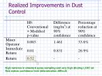 realized improvements in dust control