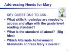 addressing needs for mary