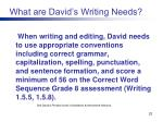 what are david s writing needs