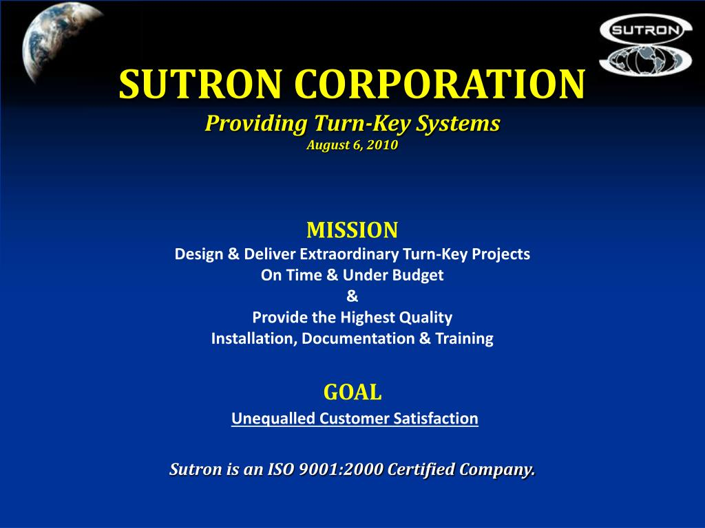sutron corporation providing turn key systems august 6 2010 l.