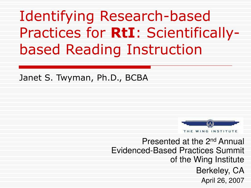identifying research based practices for rti scientifically based reading instruction l.