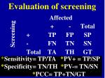 evaluation of screening