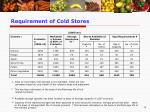 requirement of cold stores
