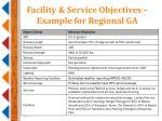 facility service objectives example for regional ga