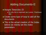 adding documents ii