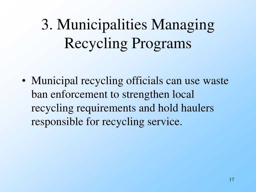 3. Municipalities Managing Recycling Programs
