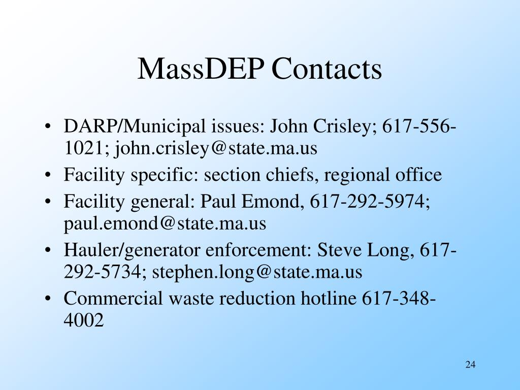 MassDEP Contacts