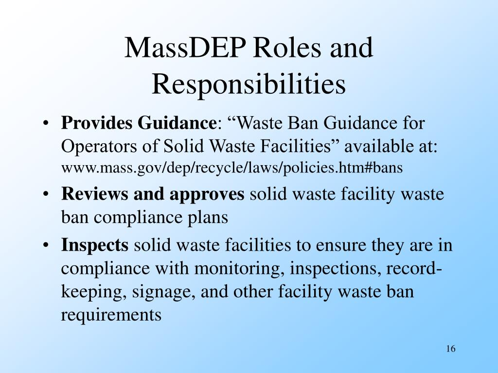 MassDEP Roles and Responsibilities