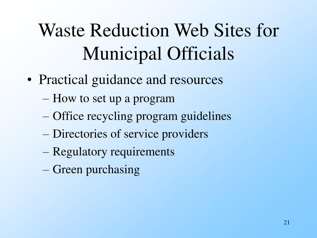Waste Reduction Web Sites for Municipal Officials