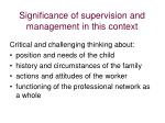 significance of supervision and management in this context