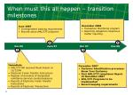 when must this all happen transition milestones