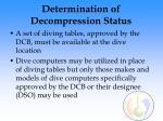 determination of decompression status