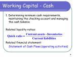 working capital cash