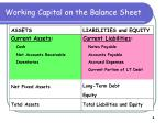 working capital on the balance sheet