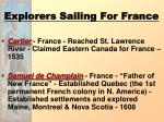explorers sailing for france