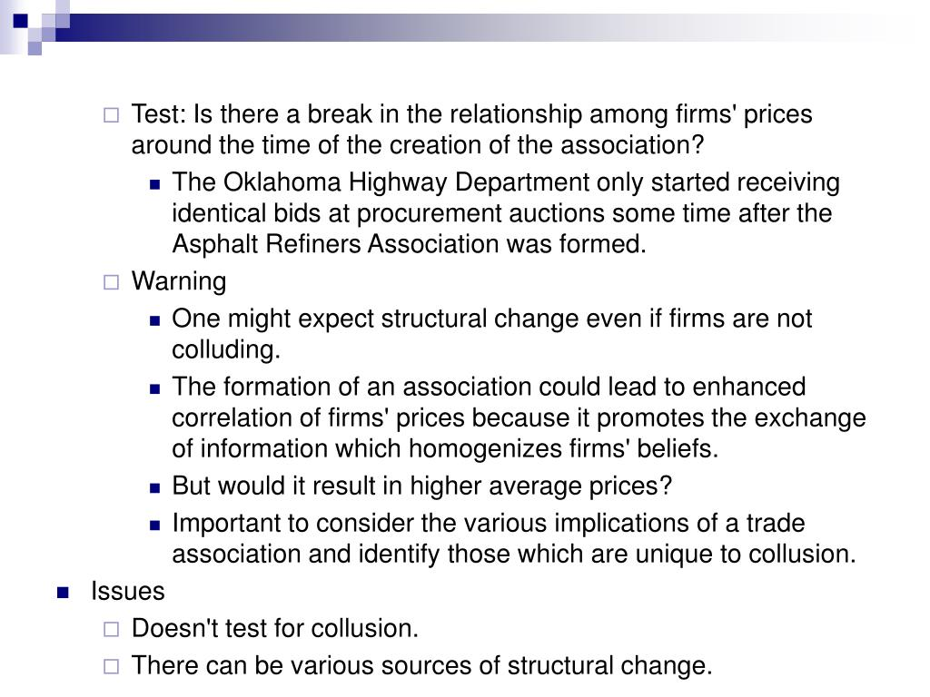 Test: Is there a break in the relationship among firms' prices around the time of the creation of the association?