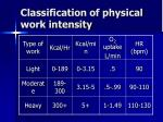 classification of physical work intensity