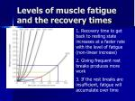 levels of muscle fatigue and the recovery times
