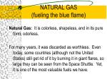 natural gas fueling the blue flame