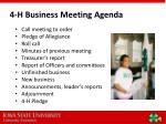 4 h business meeting agenda