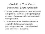 goal 6 a true cross functional team approach