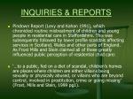 inquiries reports