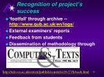 recognition of project s success