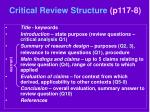 critical review structure p117 8