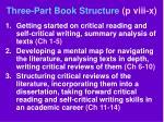 three part book structure p viii x