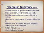 secrets summary con t