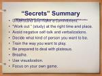 secrets summary