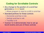 coding for scrollable controls