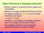 object removal garbage collection