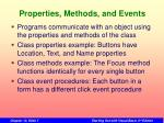properties methods and events