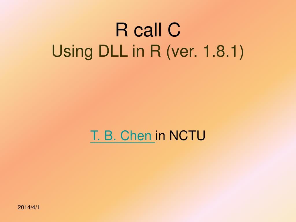 r call c using dll in r ver 1 8 1 l.