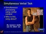 simultaneous verbal task
