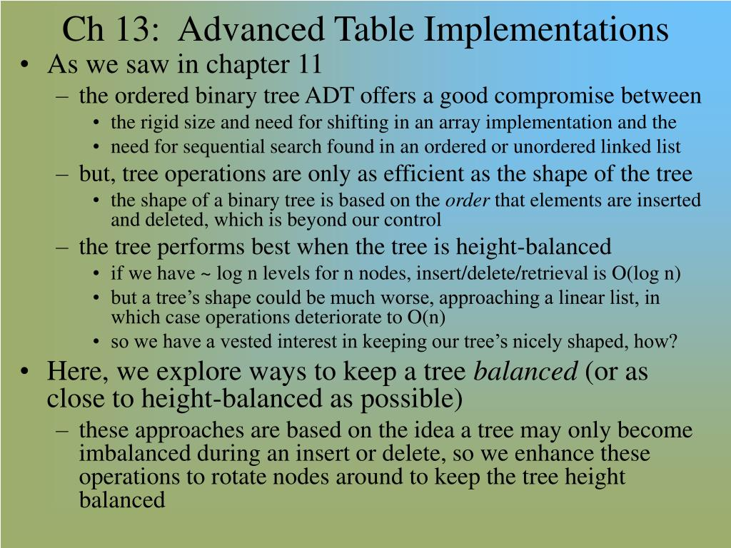 ch 13 advanced table implementations l.