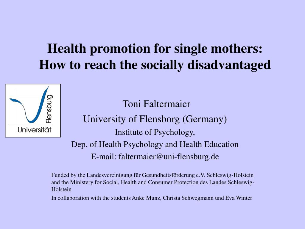 health promotion for single mothers how to reach the socially disadvantaged l.