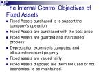 the internal control objectives of fixed assets