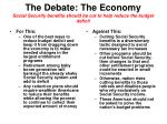 the debate the economy social security benefits should be cut to help reduce the budget deficit