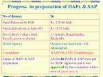 progress in preparation of daps sap