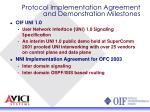 protocol implementation agreement and demonstration milestones