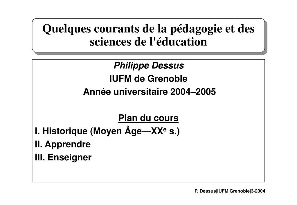 quelques courants de la p dagogie et des sciences de l ducation l.