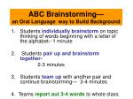 abc brainstorming an oral language way to build background